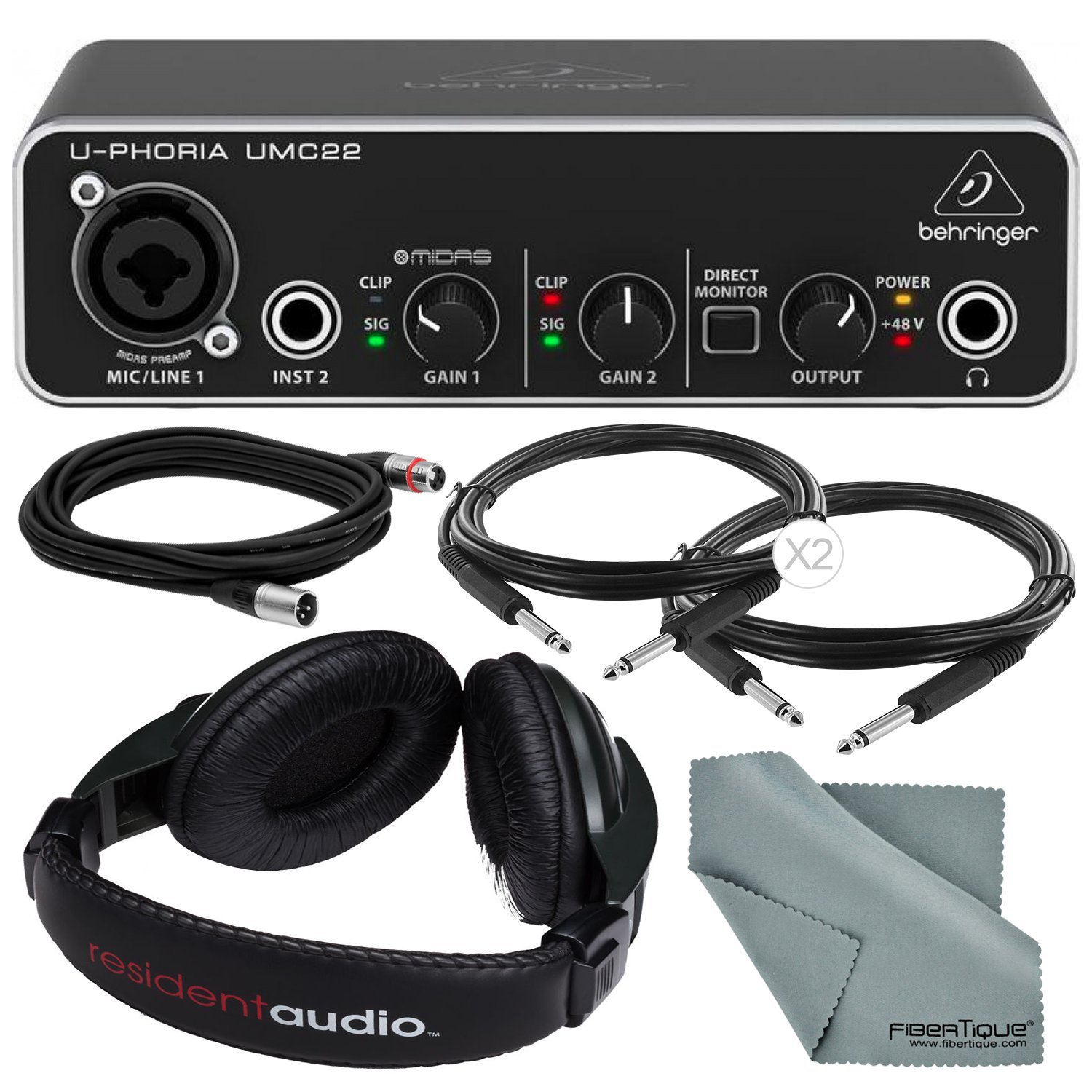 Behringer U-PHORIA UMC22 2in2out USB Audio Interface and Accessory Bundle w/ Headphones + Xpix 1/4'' and XLR Cable + Fibertique Cloth