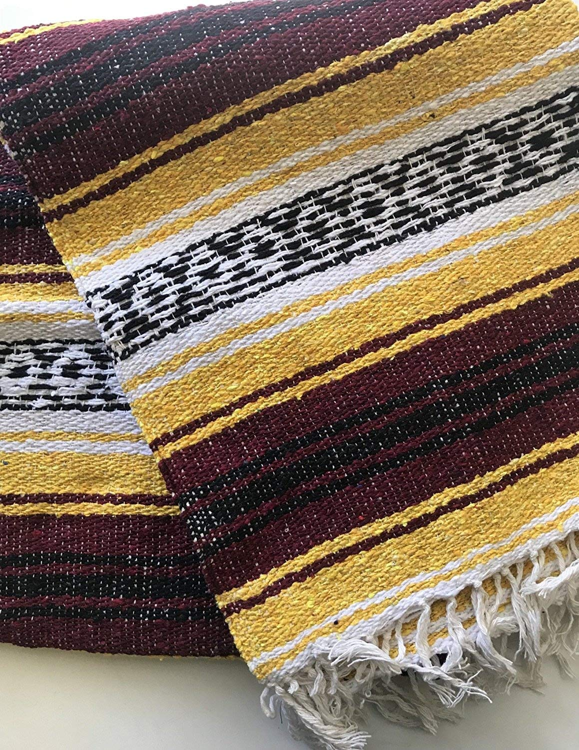 Tan//Dark Brown//Black Mexitems Mexican Falsa Blanket Authentic 52 X 72 Pick Your Own Color