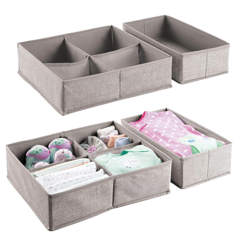 mDesign Cesta organizadora para armario y cajones – Juego de 4- Ideal como organizador para bebés para baberos, patucos, etc. – Organizador de juguetes - Gris MetroDecor 7912MDB
