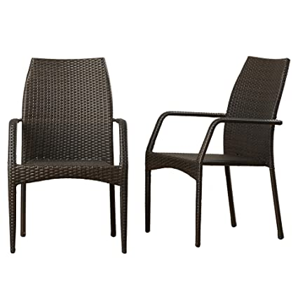 contemporary wicker chairs living room contemporary herod wickerrattan stacking dining arm chair set of mcrr2891 amazoncom