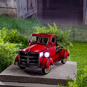 Retro Style Solar Pickup Truck Garden Decoration,Metal Vintage Truck Flower Pot with Car Light Pickup Truck Planter for Home Garden Outdoor Decor (Red, 7.9x5.9x4.7inch)