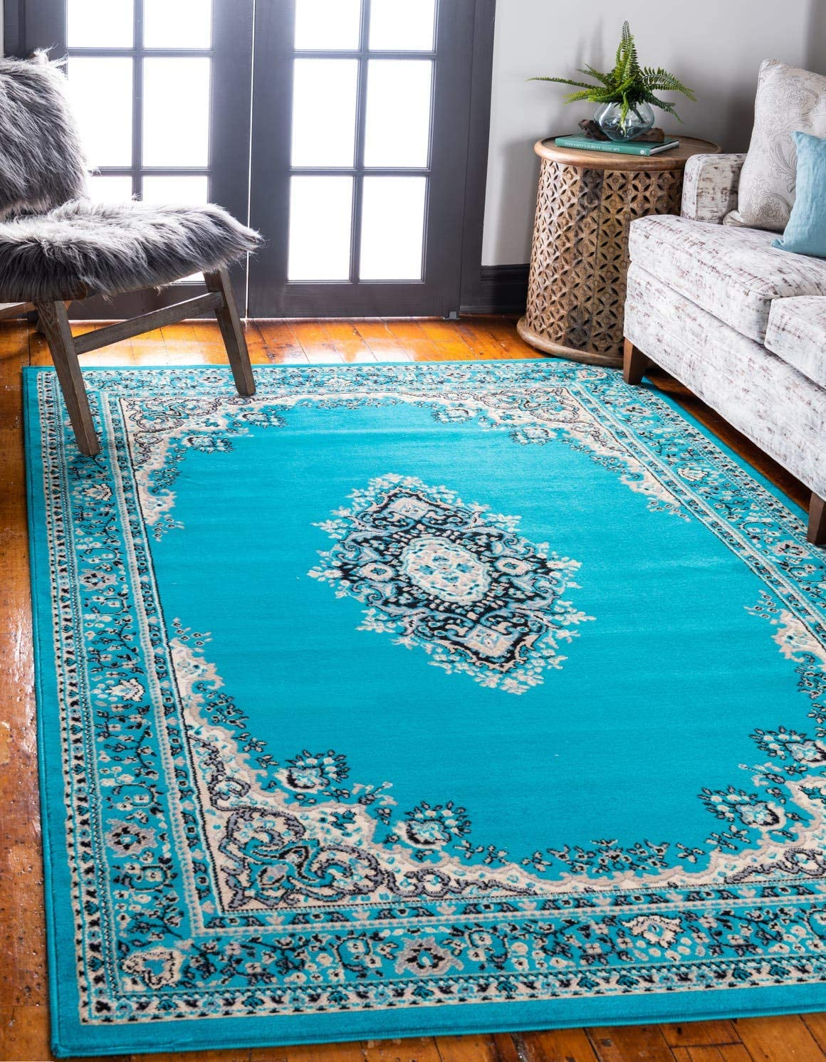 Unique Loom Reza Collection Classic Traditional Turquoise Area Rug 9 0 x 12 0