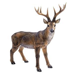 Design Toscano Big Rack Buck Deer Garden Decoy Animal Statue, 28 Inch, Polyresin, Full Color