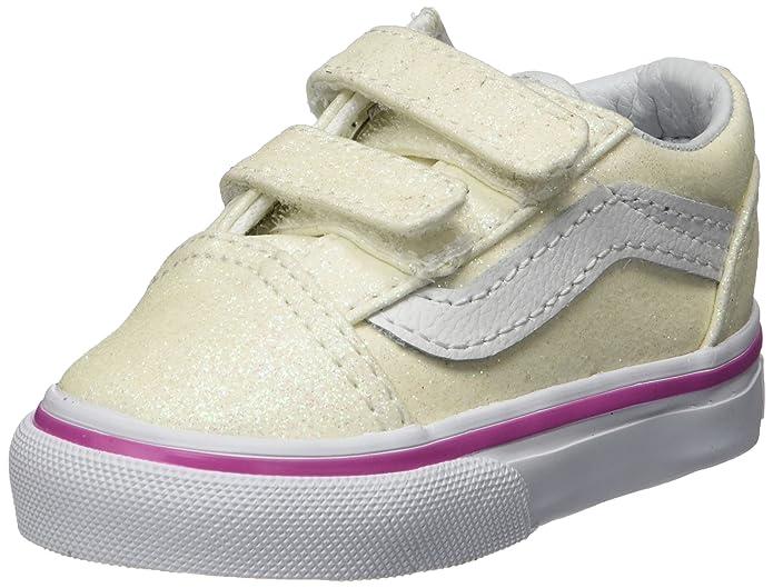 Vans Unisex Baby Old Skool V Sneaker Weiß Glitter