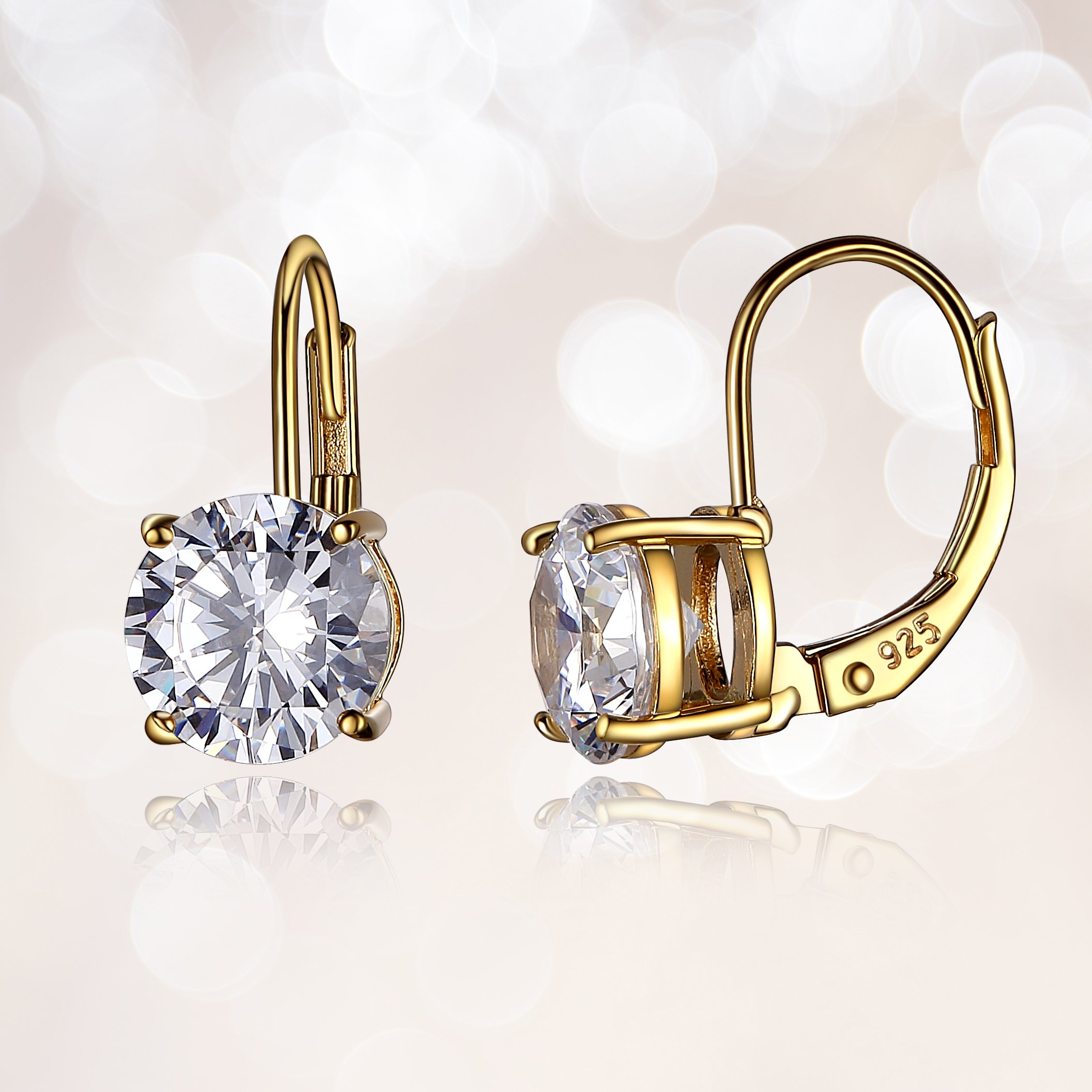 14k Yellow Gold Plated Sterling Silver Round 7.5mm Cubic Zirconia Leverback Earrings (3 cttw)