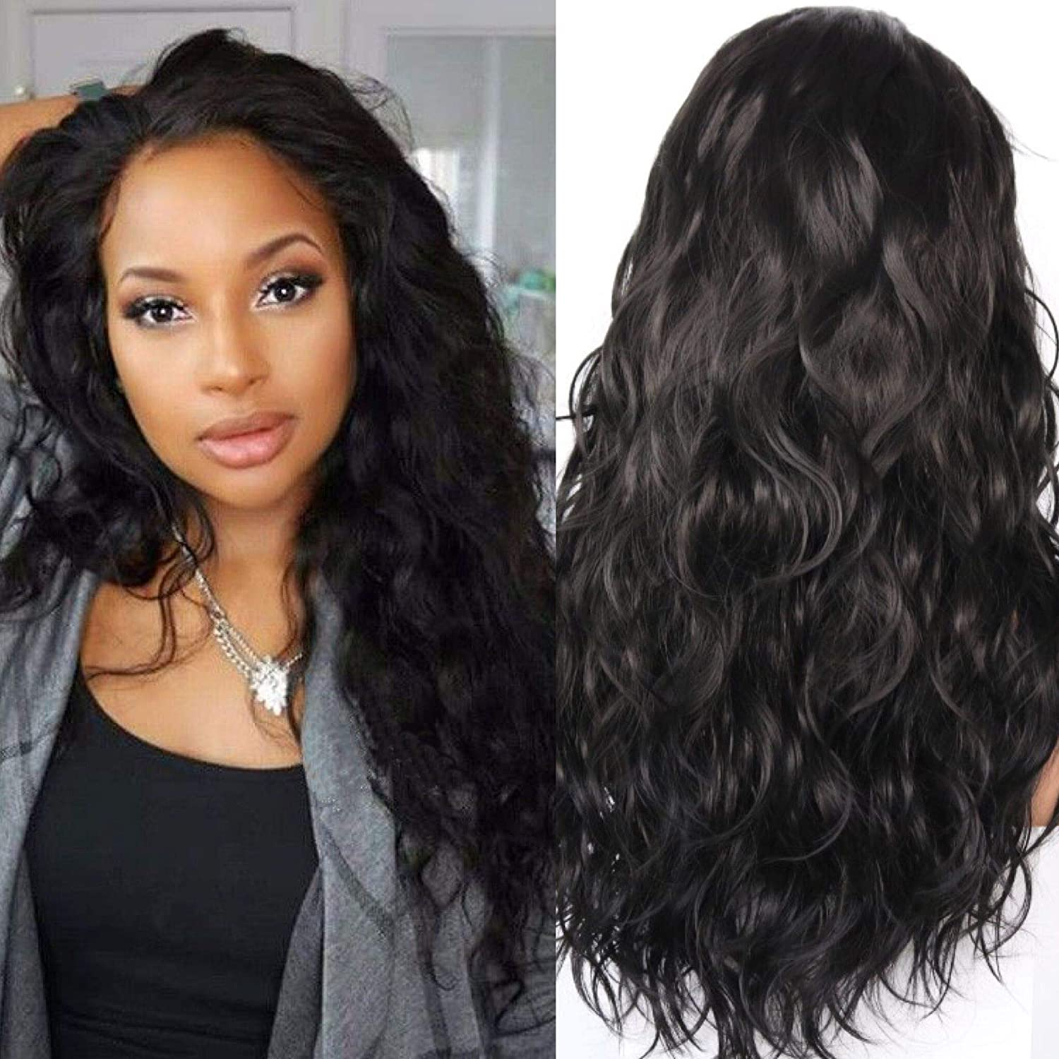 Amazon Com Wennisi Black Lace Front Wigs Loose Curly Synthetic Wigs For Black Women Natural Hair Wigs With Baby Hair Free Part High Temperature Synthetic Hair Beauty