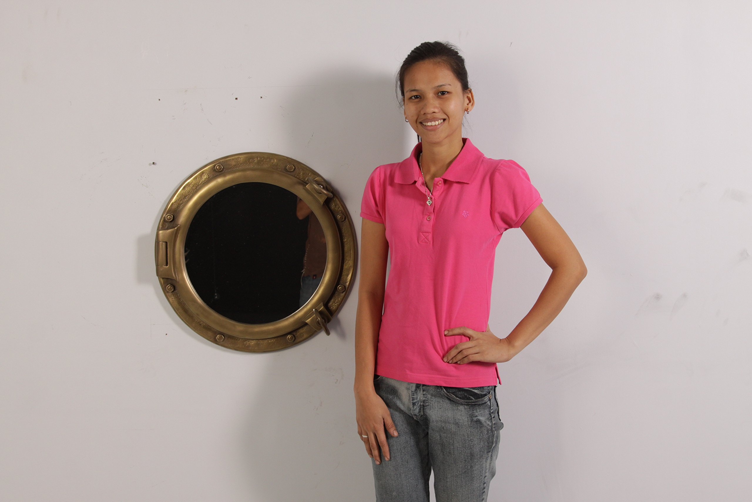 20'' Antique Brass Finish Porthole Mirror Wall Mount Decor