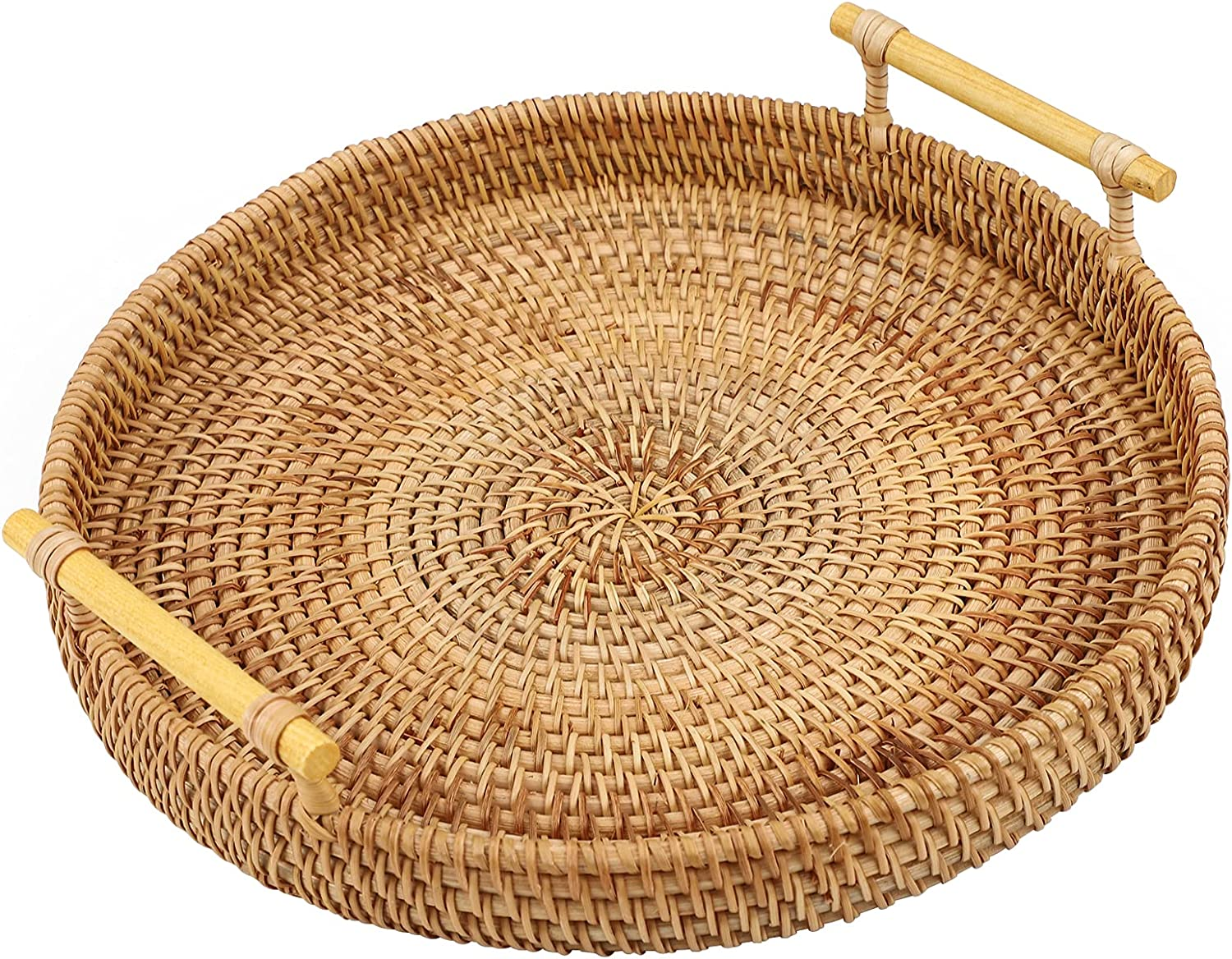 Gukasxi 11 inch Rattan Serving Tray with Handles, Rattan Round Basket Round Woven Organizer Basket Food Serving Baskets Tray Wicker Home Decorative Tray for Storage Bread Fruit Food Breakfast Snacks