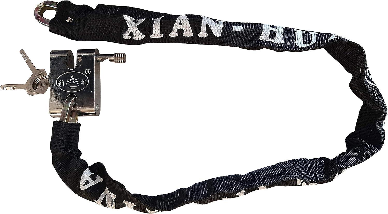 Cha/îne avec cadenas en acier r/ésistant et antivol pour v/élo dimensions 3,5 x 85 cm scooter moto 3 cl/és avec cl/é de s/écurit/é