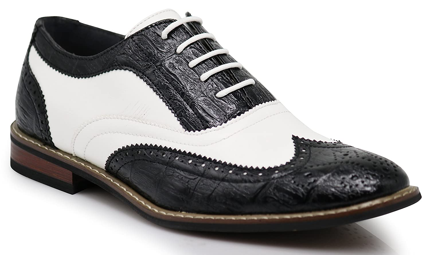 1950s Men's Clothing Mens Dress Oxfords Shoes Italy Modern Designer Wingtip Captoe 2 Tone Lace up Shoes $31.98 AT vintagedancer.com