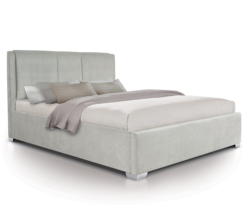Pleasing Otto Garrison Modern Padded Luxury Fabric Extra Storage Ottoman Bed King Size Light Grey Hb8 Photo Double Customarchery Wood Chair Design Ideas Customarcherynet