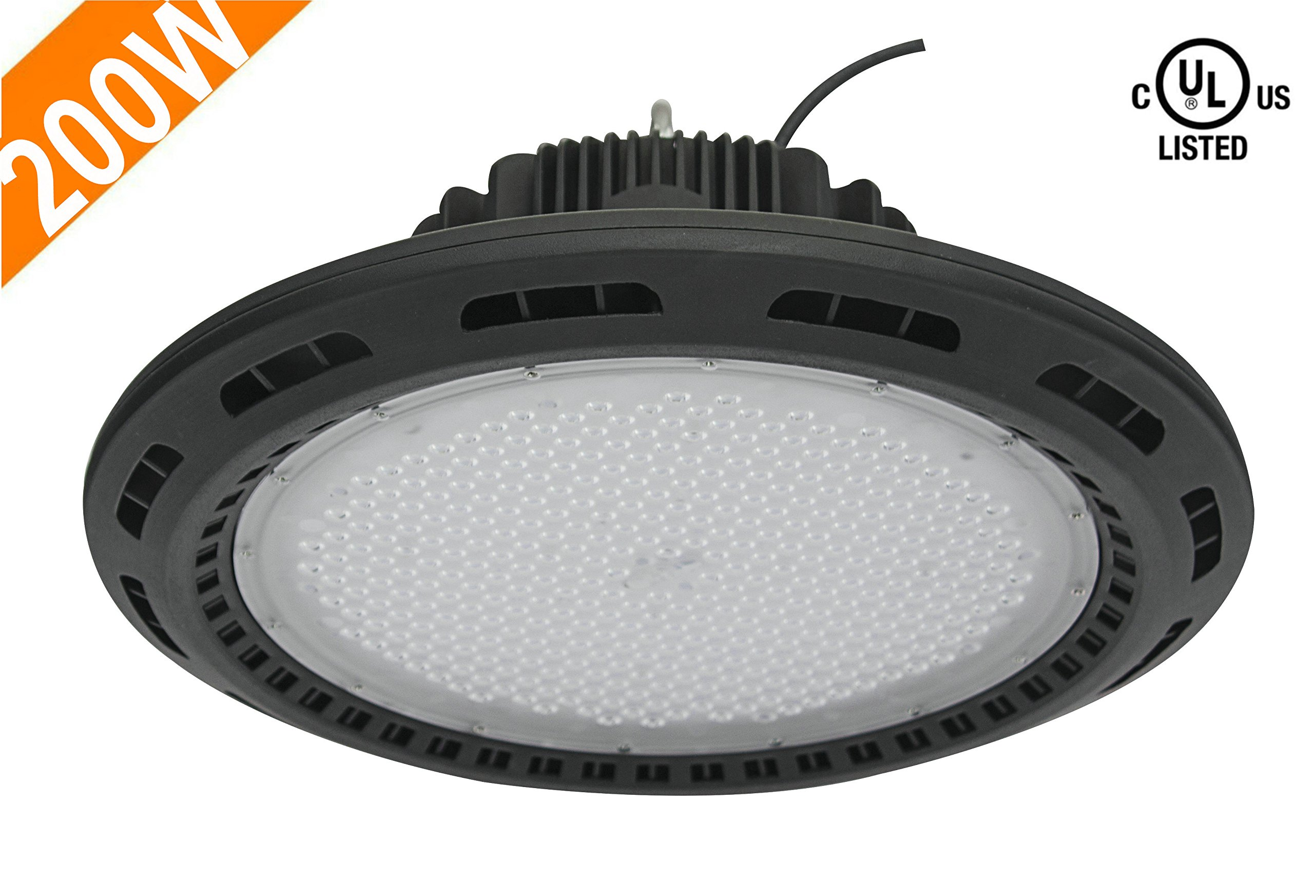 CY LED 200W UFO LED High Bay Lighting, UL Listed, 400W HPS/MH Bulbs Equivalent, 22500lm, Waterproof, Daylight White, 6000K, 120¡ã Beam, Super Bright Commercial Lighting, LED High Bay Lights