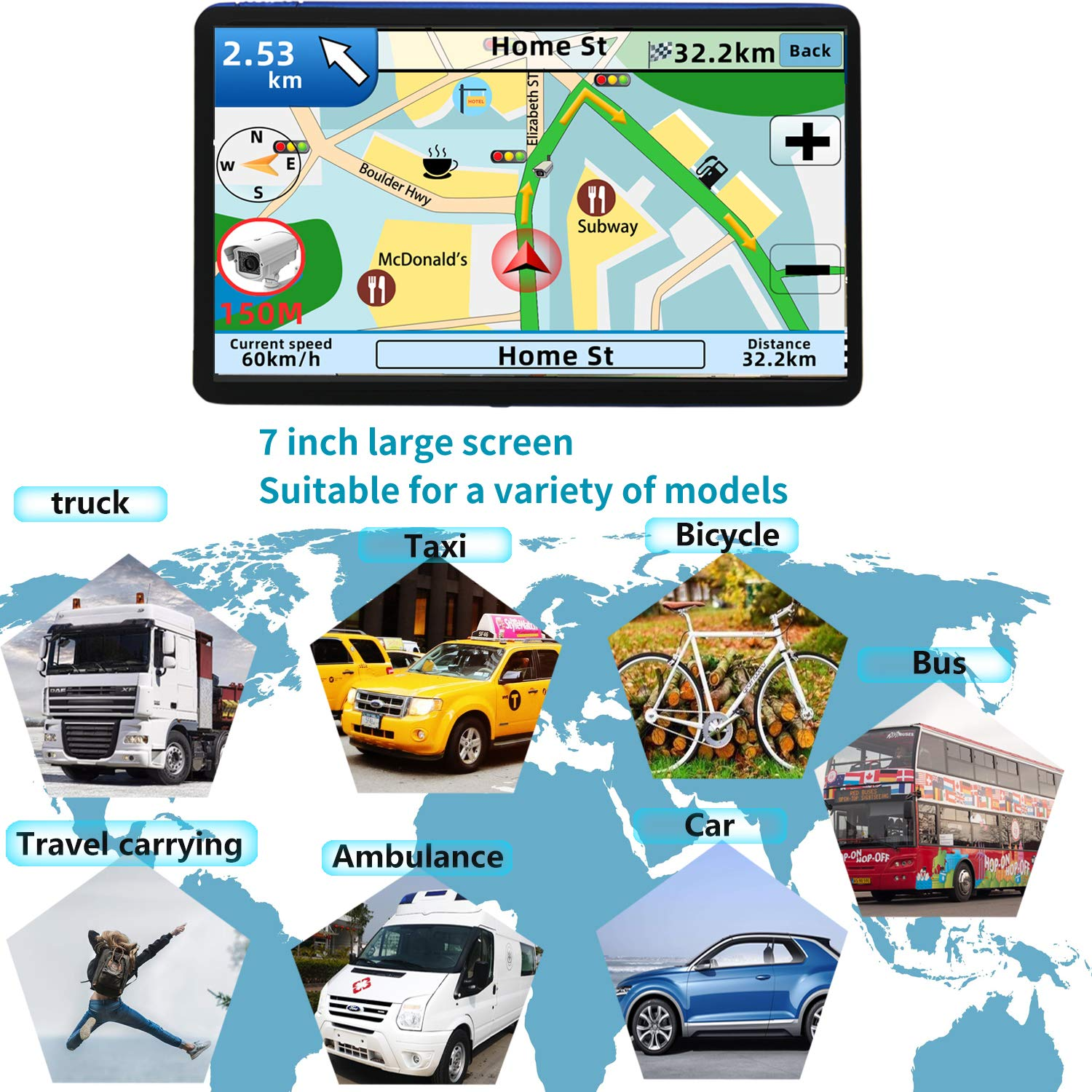 GPS Navigation for car,7 Inch GPS Navigation System, 8GB 256MB Car Navigation, Touch Screen Real Voice Direction 2019 Latest Maps Free Updates by Anstar (Image #4)