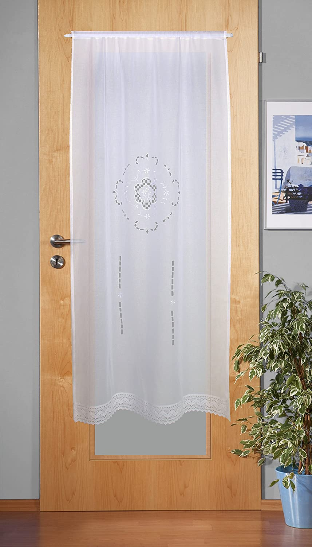 180/x 90/cm Home Fashion 023//715/ /0105/180/x 0090/cm Puerta Adornos Estructura de Lino Bordado pl/ástico Color Blanco