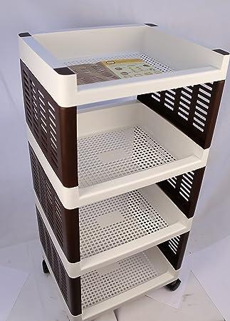 QUALITY & STYLE PRODUCTS 4 Tier Square Cocina Almacenamiento de Frutas/Verduras Carrito Carro con