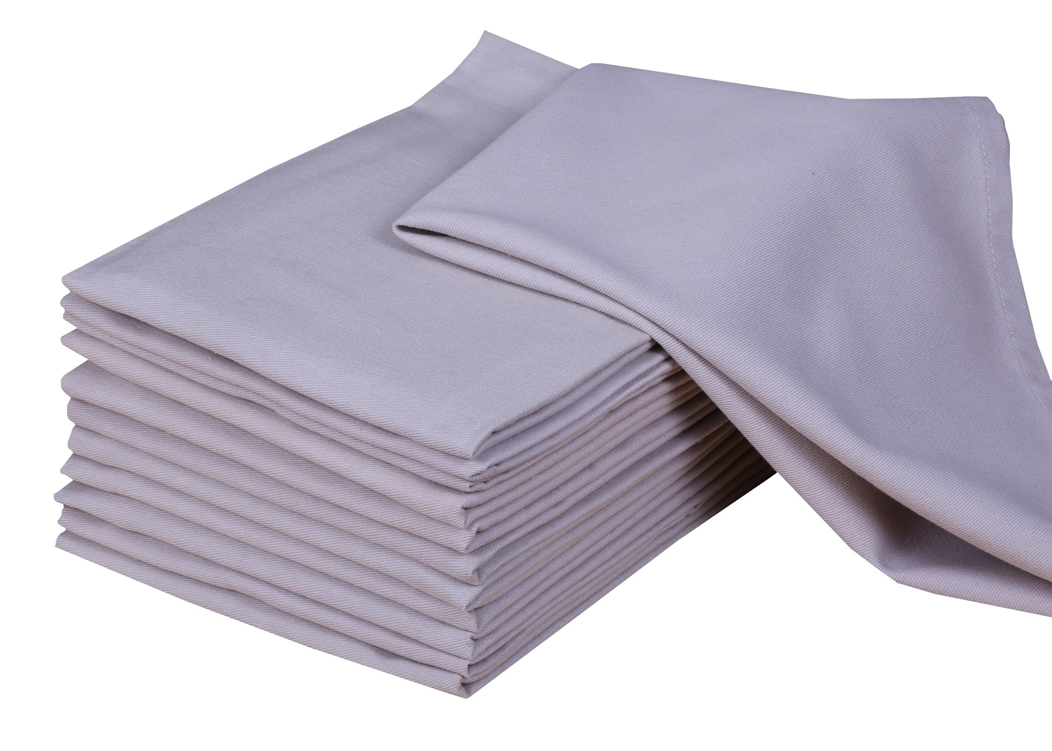 Cotton Napkin Set of 12 (18 x 18 Inches), Beige, 100% Cotton, Highly Absorbent, Machine Washable By CASA DECORS
