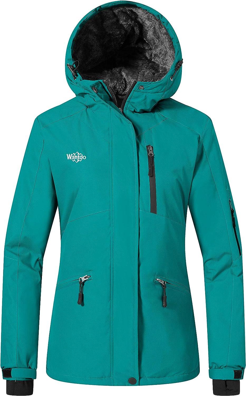Wantdo Women's Mountain Winter Snow Ski Jacket Waterproof Hooded Parka Rain Coat