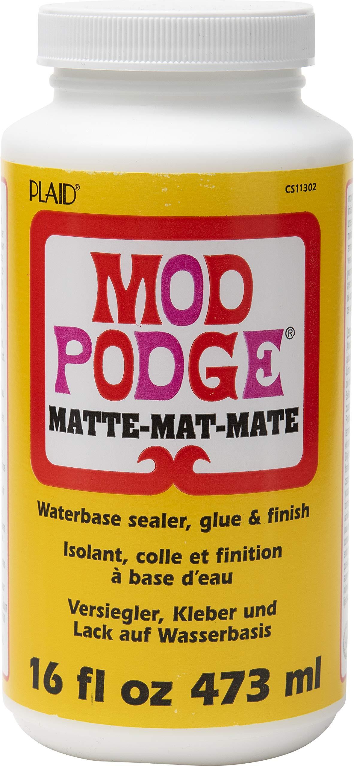 Mod Podge CS11302 Waterbase Sealer, Glue and Finish, 16 oz, Matte, 16 Ounce                Mod Podge CS11203 Waterbase Sealer, Glue & Decoupage Finish, 32 oz, Gloss                Mod Podge CS15092 Waterbase Sealer, Glue & Decoupage Finish, 64 oz, Matte