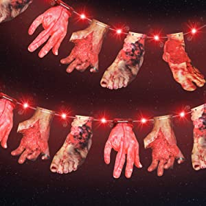 Halloween Red LED Lights with Bloody Hands and Feet Hanging Banner Cards Decor 9.8 Ft 30 LED Red Lights 2 Modes Battery Halloween Lights for Halloween Party Decoration