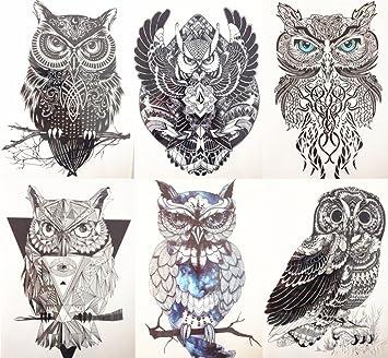 Erospa Tattoo Bogen Temporär Aufkleber 6 Verschiedene Eulen Im