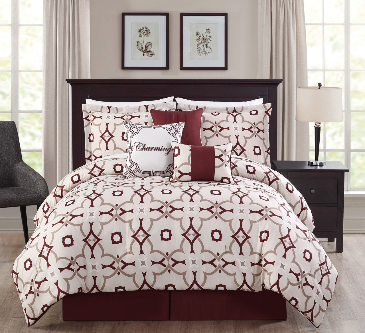 11 Piece King Charming Taupe/Burgundy/Ivory Print Bed in a Bag Set