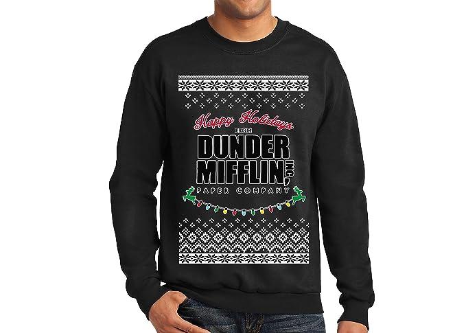 Amazoncom Fresh Tees Dunder Mifflin Ugly Christmas Sweater Clothing