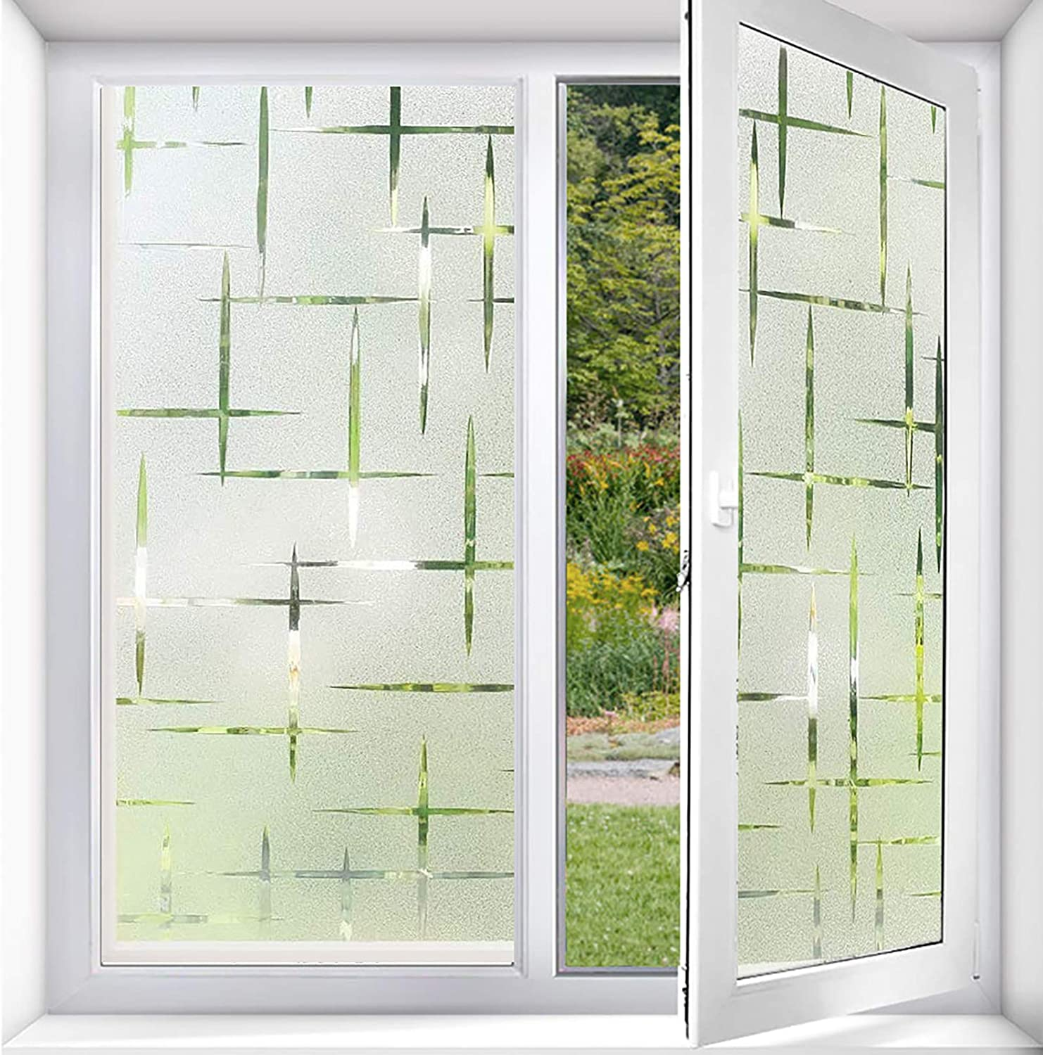 ACMETOP Window Film Privacy No Glue, Privacy Window Film for Windows & Doors, Self Static Decorative Window Film for Home Office Kitchen Living Room UV Protection (3D Cross Pattern, 17.5 x 78.7 in)