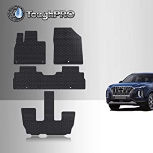 TOUGHPRO Floor Mat Accessories Set + 3rd Row Compatible with Hyundai Palisade - All Weather - Heavy Duty - (Made in USA) - Black Rubber - 2020