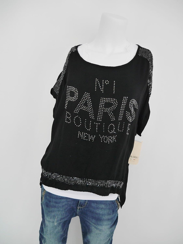 e4ce63b52504 Fashion Trend Mode Longshirt Bluse Tunika Statement Glitzer Nieten  Pailletten Paris schwarz M L 40 42 shabby (8116)  Amazon.de  Bekleidung