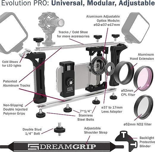 Dreamgrip Evolution 2020 Pro Universal Modular Transformable Rig System Für Jedes Smartphone Action Und Dslr Kameras
