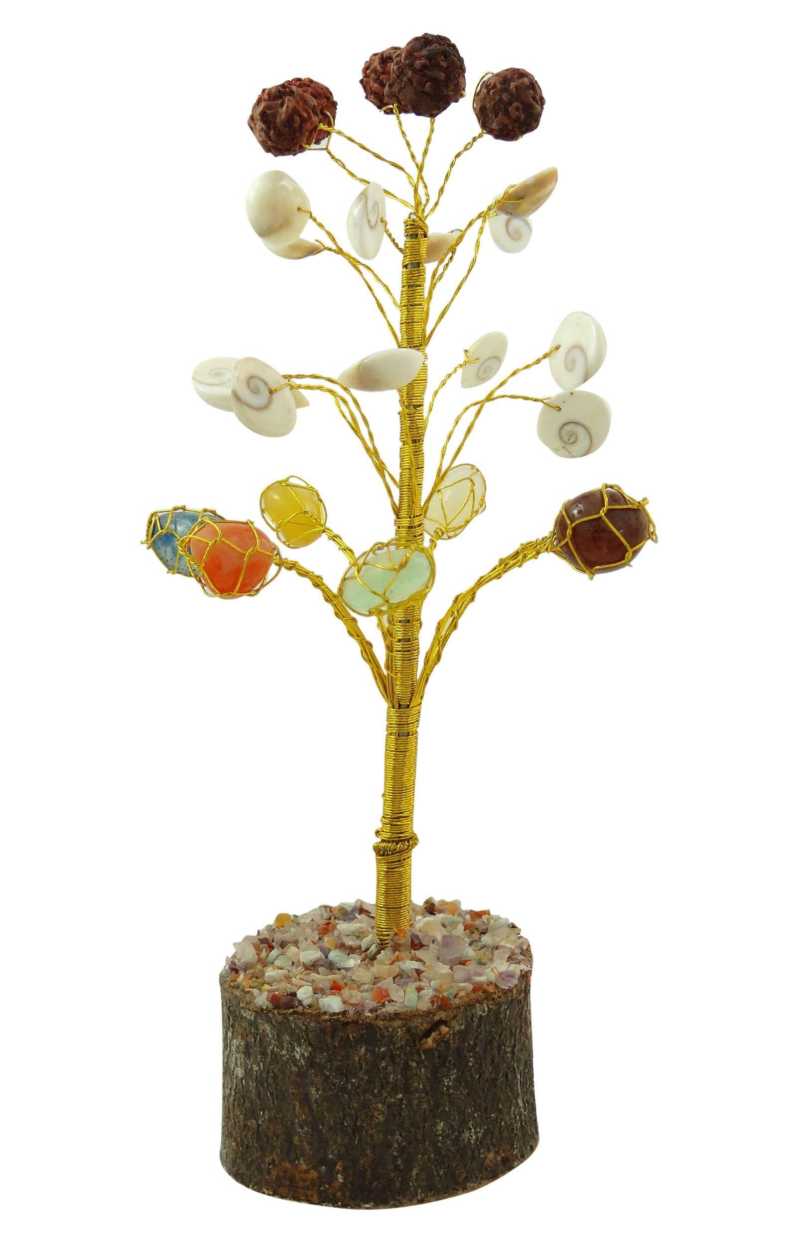 Harmonize Multistone Rudraksh Gomati Chakra Cowry Shells Power Reiki Healing Crystal Tree Spiritual Table Décor