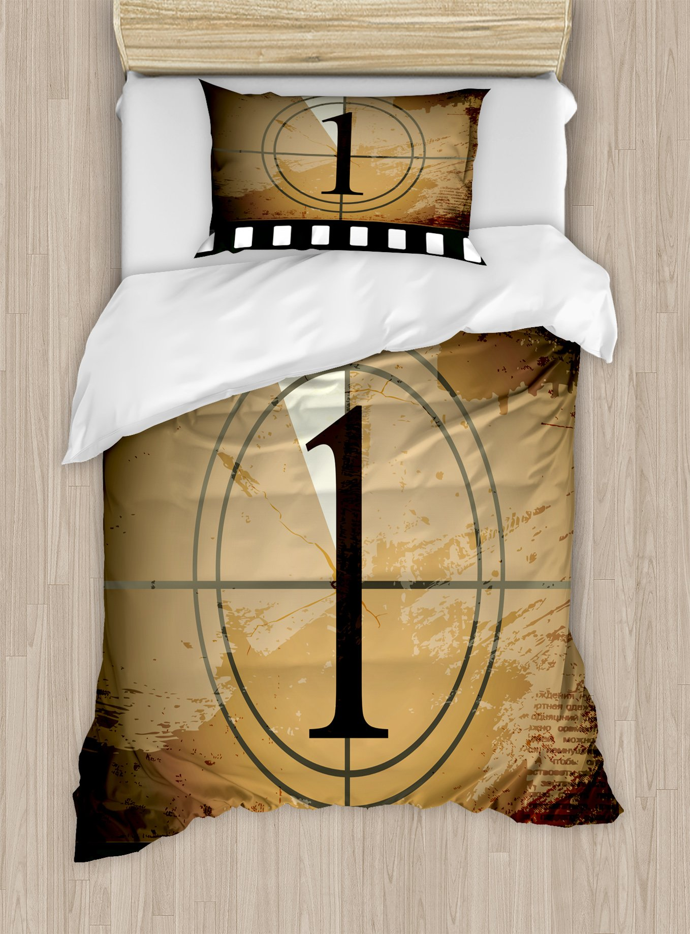 Ambesonne Movie Theater Twin Size Duvet Cover Set, Grunge Countdown Frame with The Number 1 in a Circle Film Strip, Decorative 2 Piece Bedding Set with 1 Pillow Sham, Pale Brown Black White