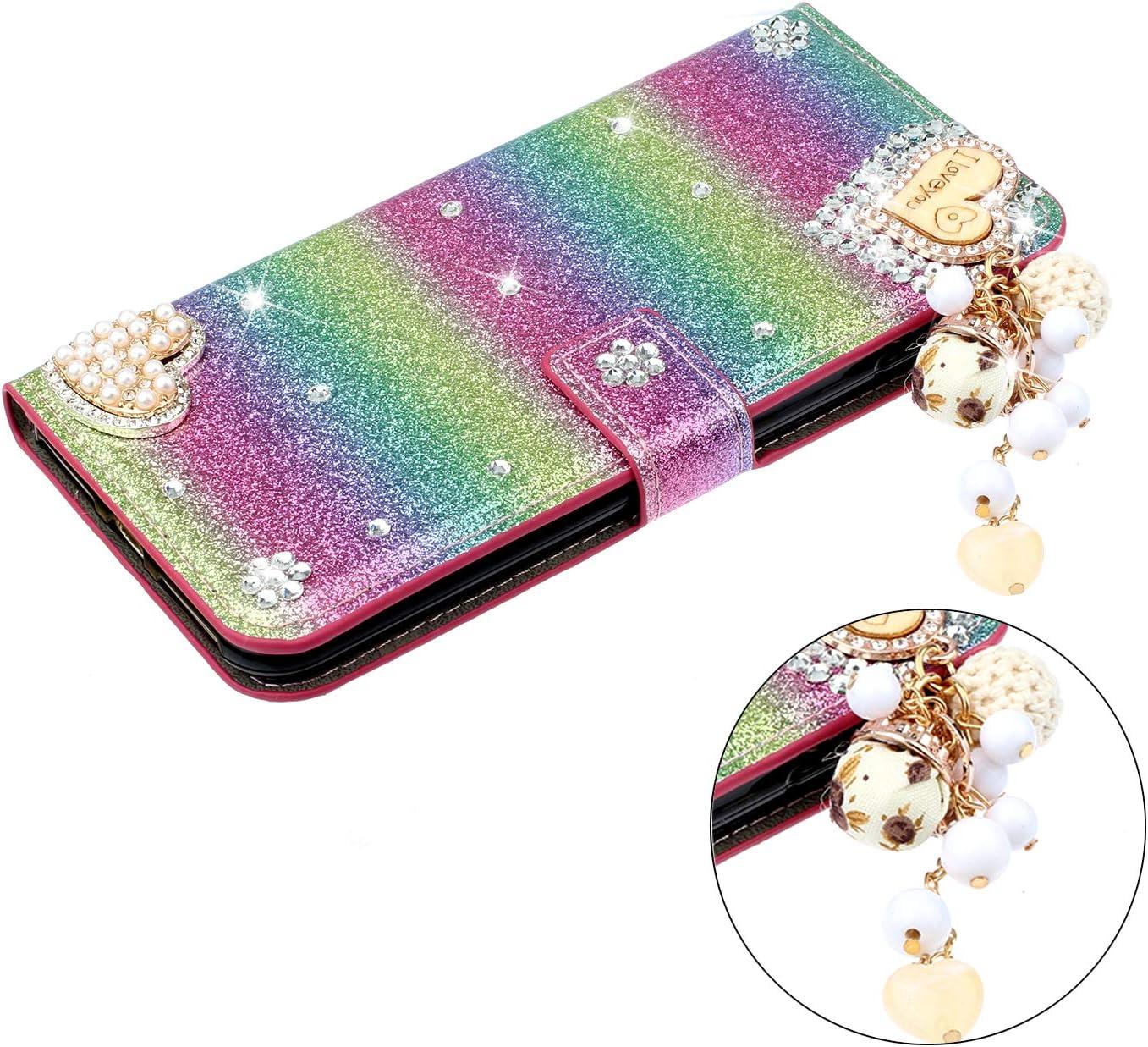 Miagon H/ülle Glitzer f/ür Huawei Y6 2019,Luxus Diamant Strass Herz PU Leder Handyh/ülle St/änder Funktion Schutzh/ülle Brieftasche Cover,Lila