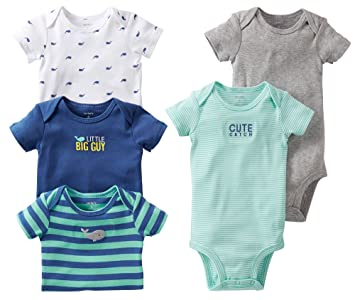 6295163ac Image Unavailable. Image not available for. Color: Carter's Baby Boys 5-pack  Short Sleeve Bodysuit Set ...
