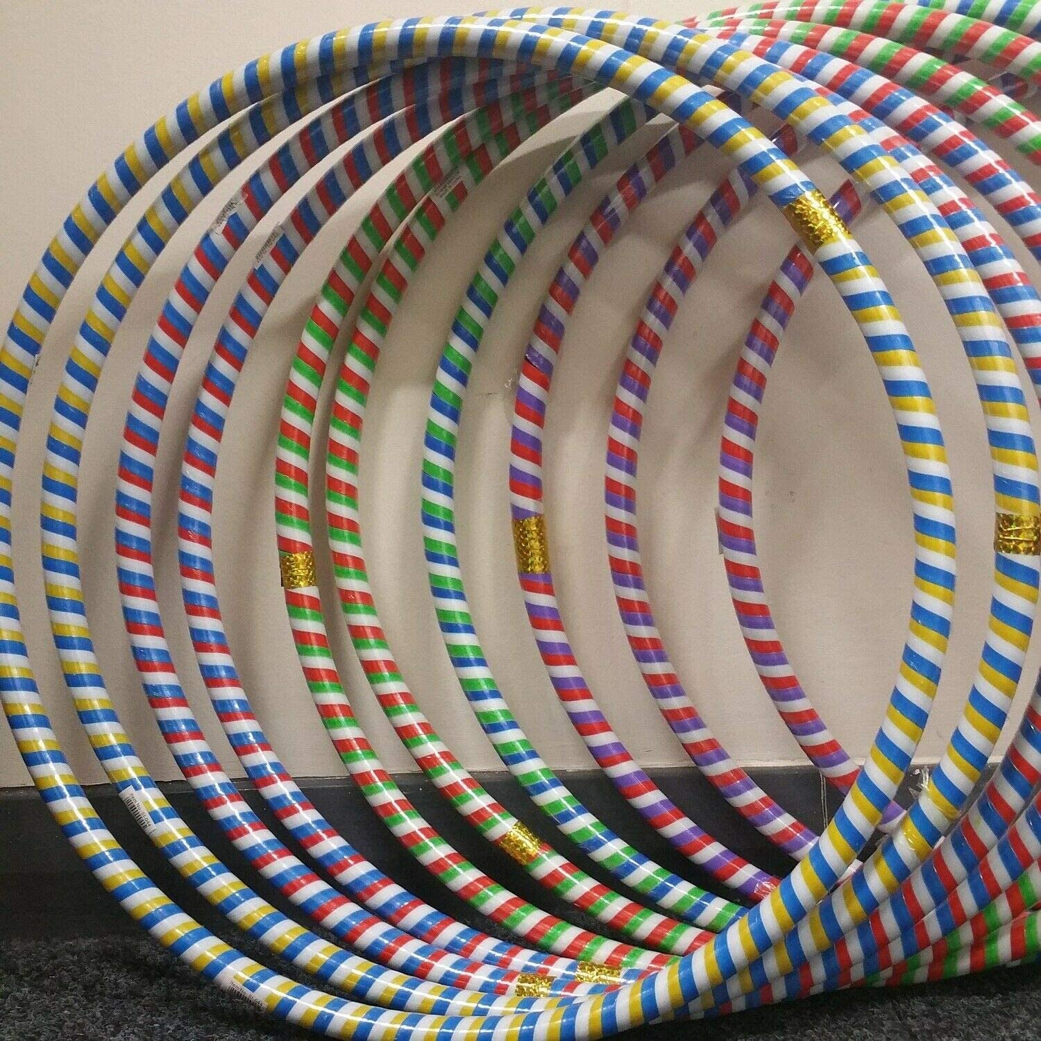 PK OF 10, 50 cm Rattan Stripe FlickBuyz Strong Rattan Stripe Small Large Multicolour Hula Hoop sporting Goods Indoor Outdoor Exercise Gym Hula Hoop