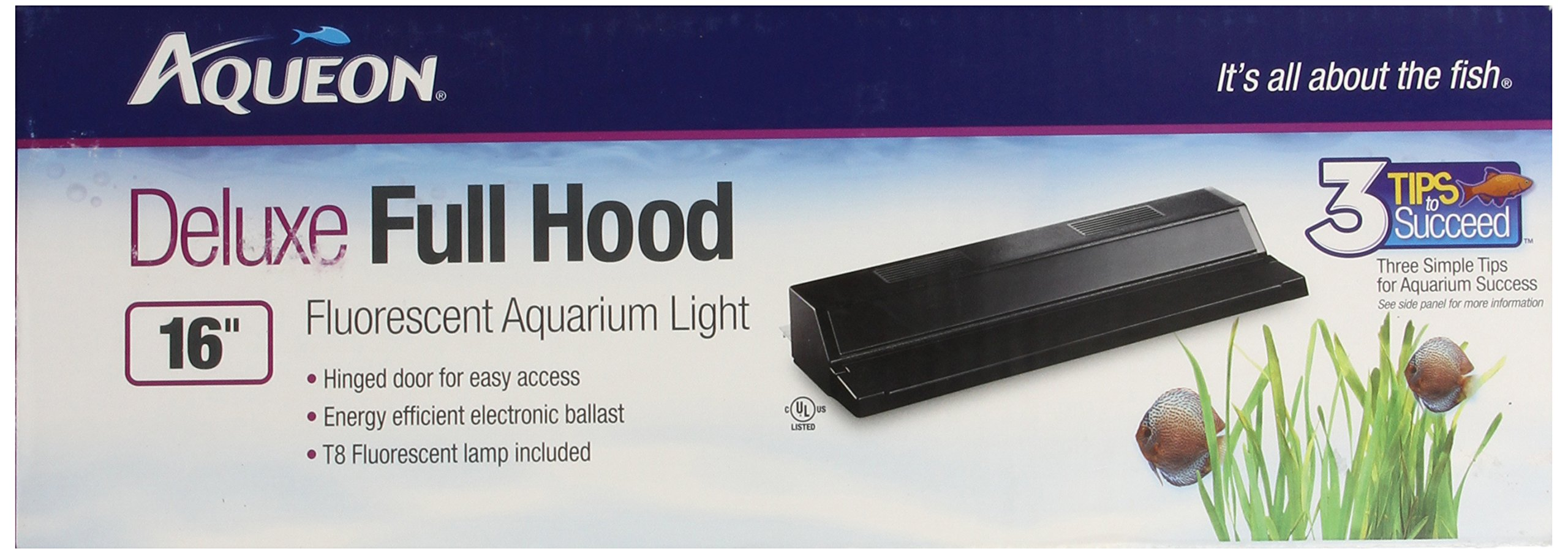 All Glass Aquarium AAG21216 Fluorescent Deluxe Hood, 16-Inch by All Glass Aquariums