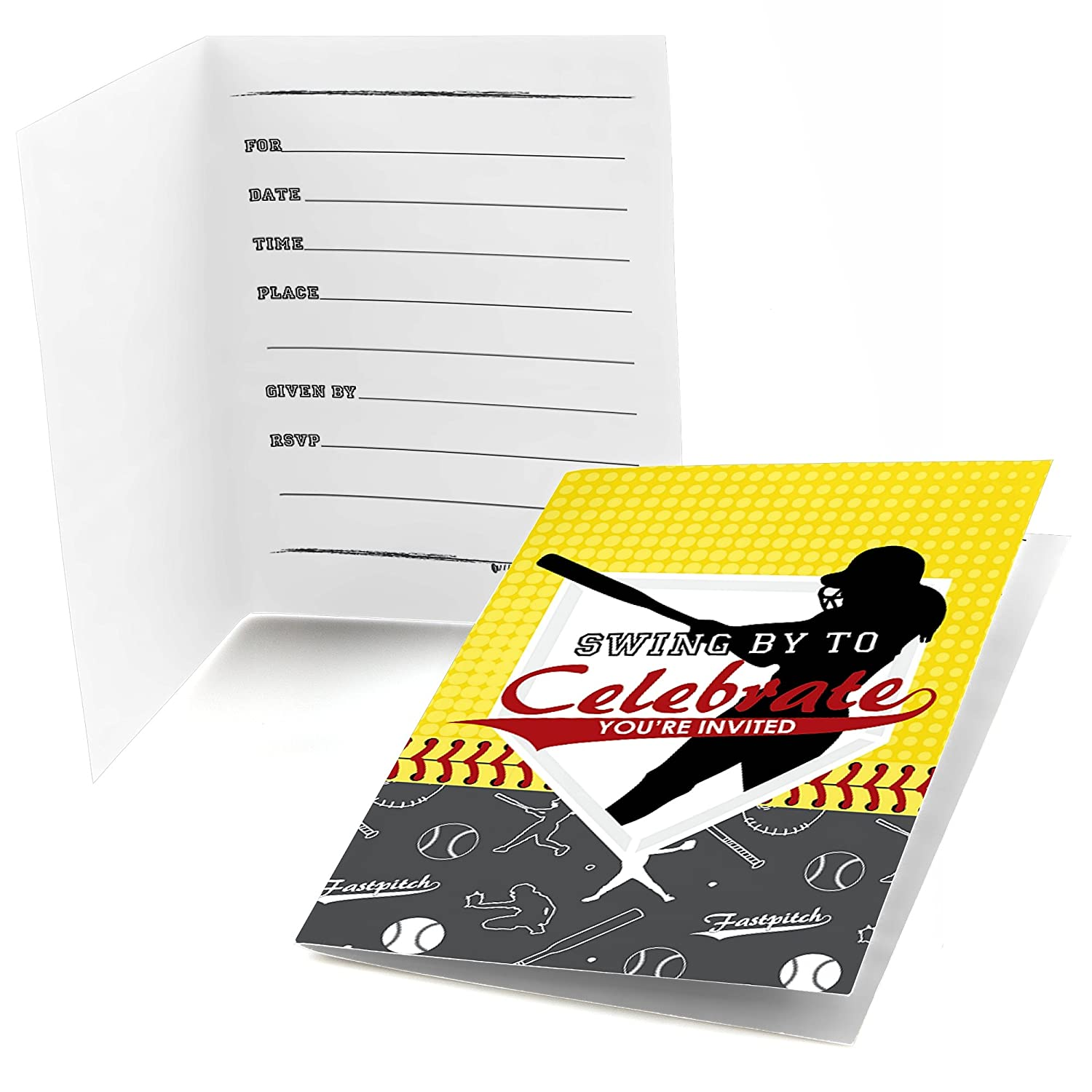 Fill in Birthday Party or Baby Shower Invitations Fastpitch Softball 8 Count Big Dot of Happiness Grand Slam