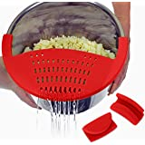 Salbree Silicone Snap Vegetable and Ground Beef Grease Strainer fits Instant Pot Accessories and Snaps to the 6 quart Instapot Pressure Cooker Inner Pan Small Mitts Set Included (6qt, red)