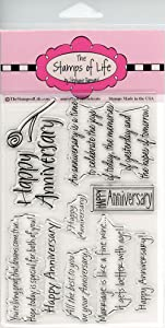 Happy Anniversary Stamps for Card-Making and Scrapbooking Supplies by The Stamps of Life - Anniversary2Celebrate Sentiments