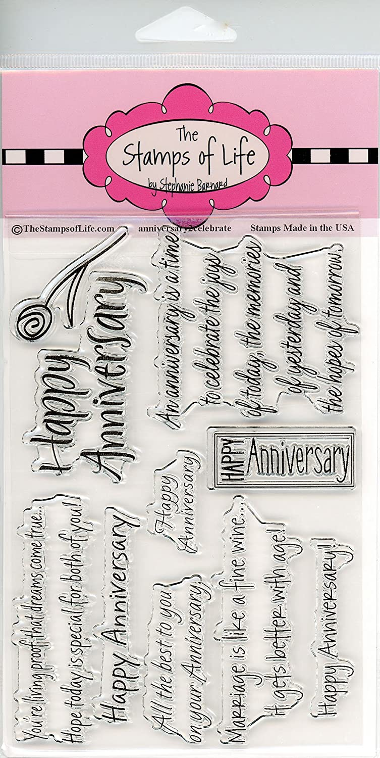 The Stamps of Life Happy Anniversary Stamps for Card-Making and for Scrapbooking by Stephanie Barnard - Anniversary2Celebrate Sentiments 4336990734