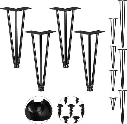 Relaxdays Pack 4 Patas Horquilla para Mesas Acero y Goma Negro Hairpin Legs Met/álicas Alto Muebles 20 cm-3 Barras
