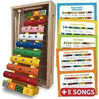 Juguete de xilófono con tarjetas de música (incluidas), 8 Nota metal / música de madera Glockenspiel / xilófono, con caja de madera, 2 palos, diseño de estrellas multicolores para niños.