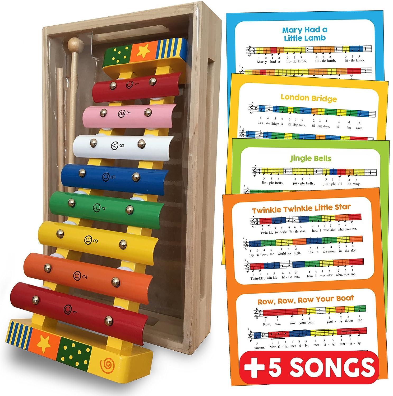 Xylophon Baby und Kinder holz spielzeug, Glockenspiel Percussion Musikinstrument für Kleinkinder mit Musik Blatts (englisch), mit bunten Metalltasten und zwei hölzernen Schlägeln und Holzkiste präsentiert - Baby und Kleinkind Musikinstrumente Spielzeug Ge