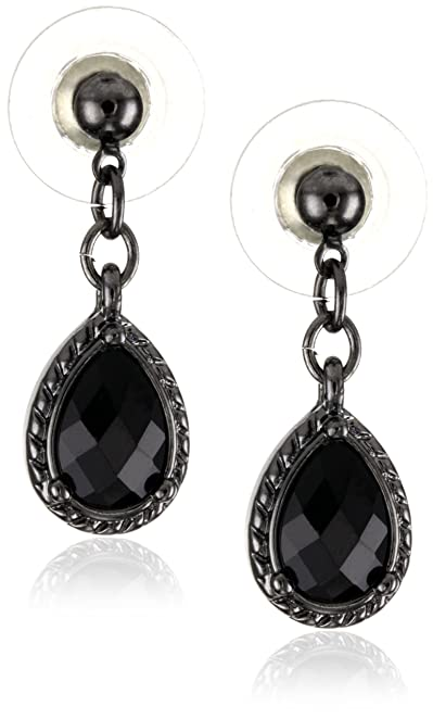 Vintage Style Jewelry, Retro Jewelry 1928 Jewelry Black Victorian Inspired Petite Teardrop Earrings $9.00 AT vintagedancer.com