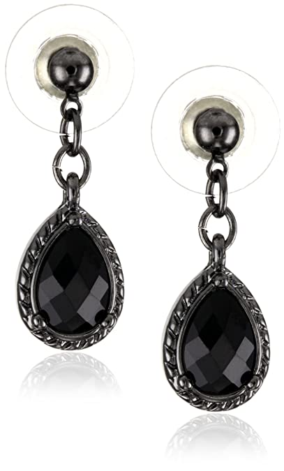 Vintage Style Jewelry, Retro Jewelry 1928 Jewelry Black Victorian Inspired Petite Teardrop Earrings $11.08 AT vintagedancer.com