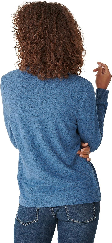Lucky Brand Damen Long Sleeve Tunnel Neck Cloud Jersey Pullover Sweatshirt Blau/Mehrfarbig