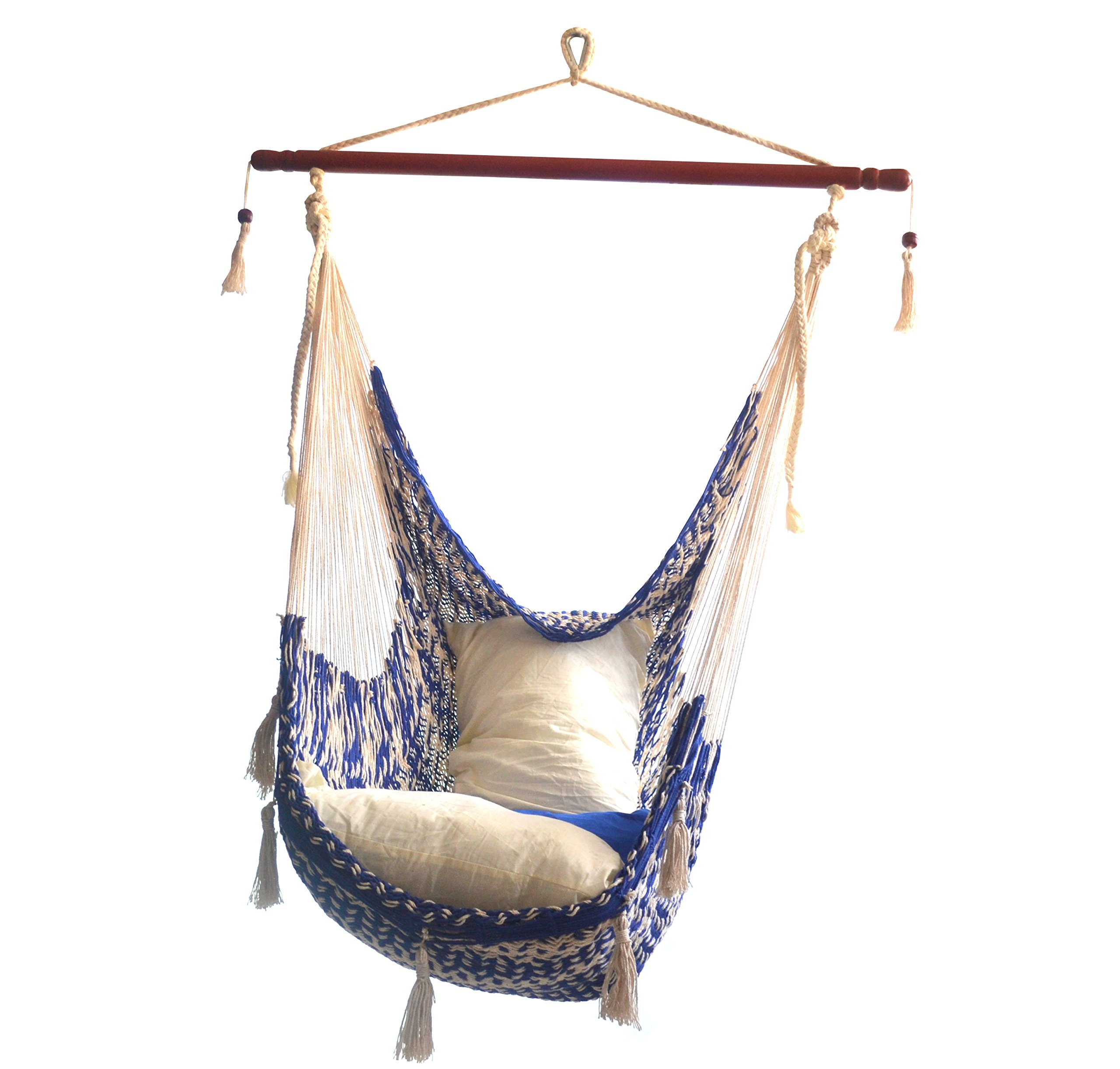 Hammocks Rada - CHAIR HAMMOCK DELUXE (Dark Blue/Natural) - THE BEST CHAIR HAMMOCK MAYAN STYLE , this Chair Hammock is elegance, wider, comfy, soft, make with natural cotton fibers HIGH QUALITY, the Chair is make with tight weave using Thicker Strings in Cotton RESISTANT, the Cotton Thicker Strings make strong the Chair Hammock and the Nylon Rope is make with Nylon Strings offering strength in all its components - patio-furniture, patio, hammocks - 81SUPQYE6DL -