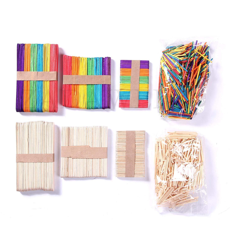 para trabajos manuales ZADAWERK/® Palillos de madera coloridos /& naturales