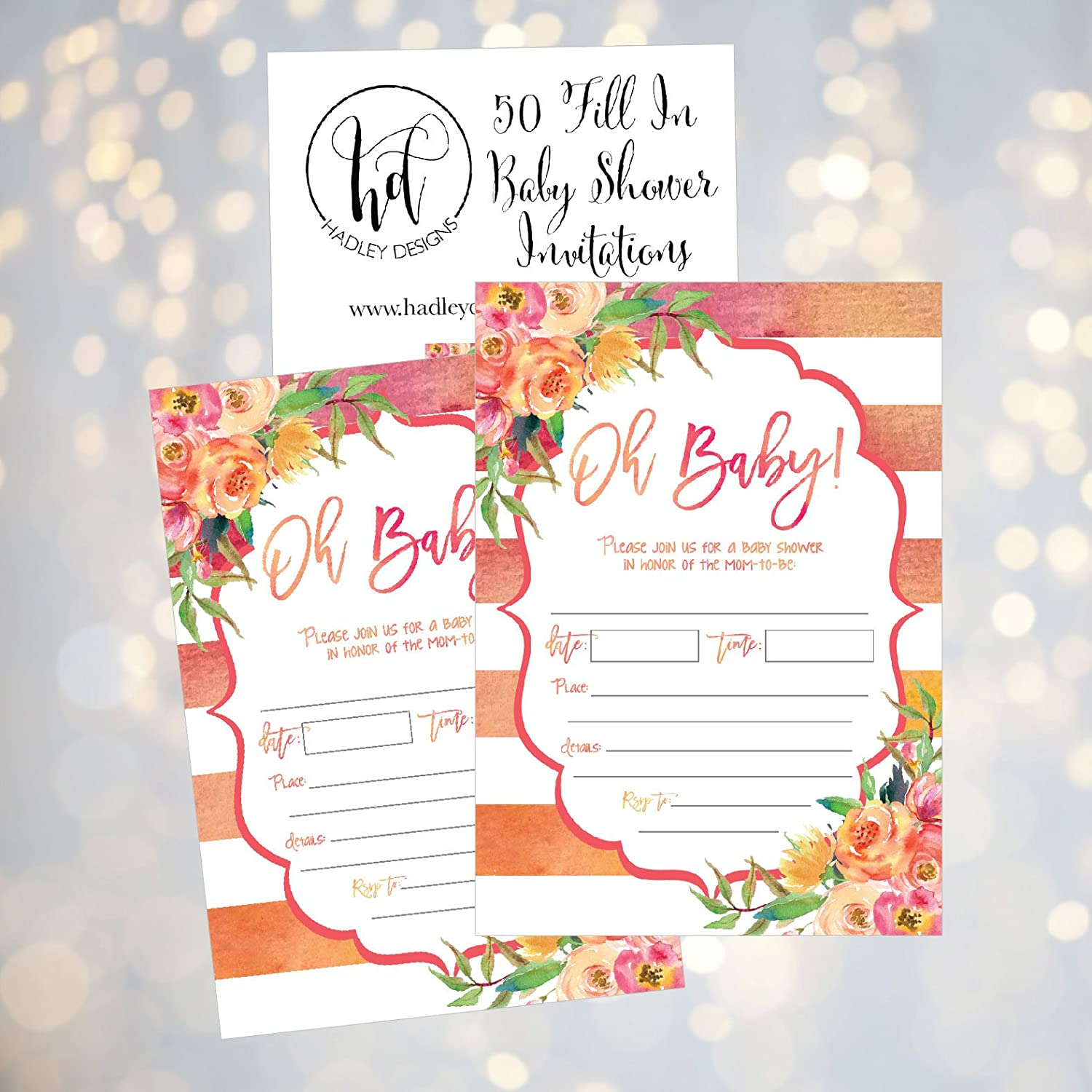 Amazoncom 50 Fill In Cute Baby Shower Invitations, Baby Shower