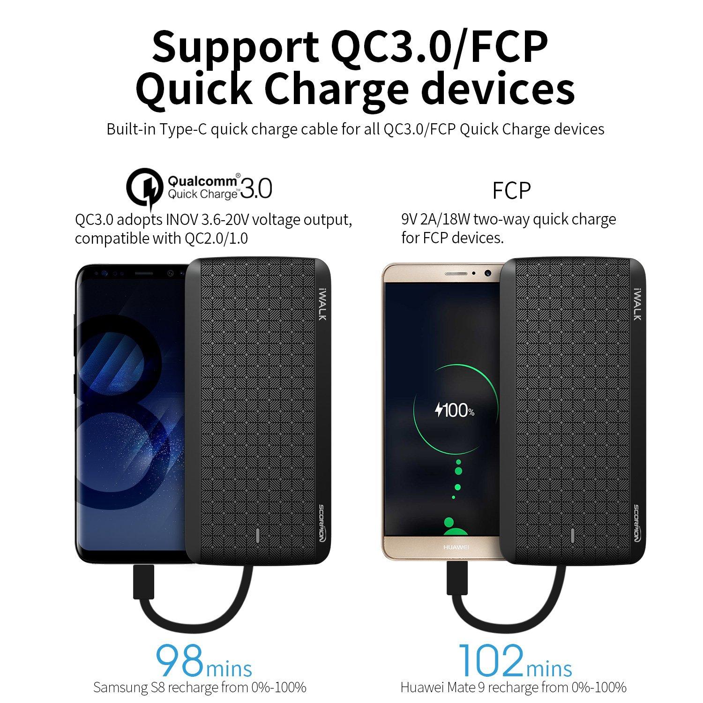 iWalk 12000mAh avec Type-C Micro USB Câbles Batterie Externe Chargeur Quick  Charge 3.0 Slim Portable Compacte Power Bank Compatible pour Samsung Galaxy  S8 . 1af2d2cffbf